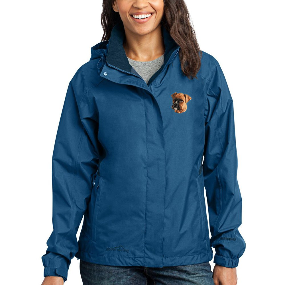 Cherrybrook Dog Breed Embroidered Ladies Rain Jackets - XX-Large - Deep Sea Blue and Dark Adriatic - Boxer