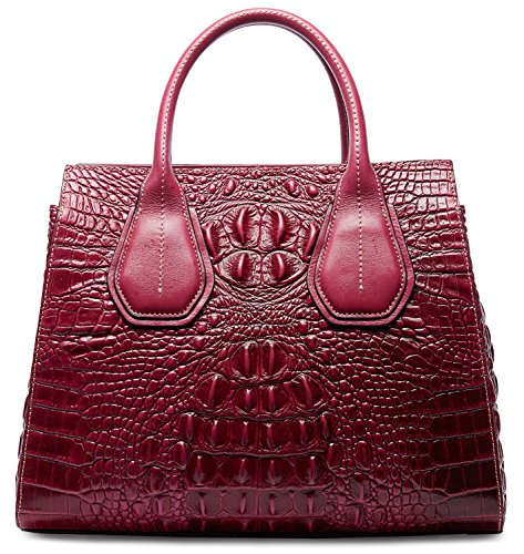 - PIFUREN Classic Embossed Crocodile Genuine Leather Top Handle Satchel Handbags M1103(One Size, Purple)
