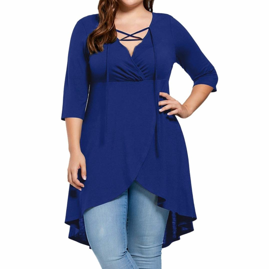 FENZL Plus Size Lady Women's Top Three Quarter Sleeve High Low Hem Tops (US-1X/16, Blue)