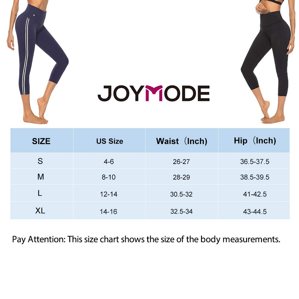 JOYMODE Womens Yoga Shorts Knee Length High Waist Tummy Control Sport Pants Athletic Fitness Shorts with Pocket