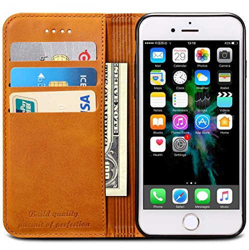 SINIANL iPhone 6 6S 7 8 X Plus Samsung Galaxy S8 Note 8 Premium Leather Wallet Case Business Credit Card Holder Folio Flip Cover