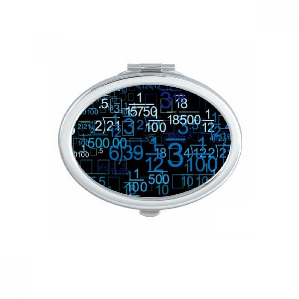 Digital Score Decimal Blue Illustration of Science And Technology Oval Compact Makeup Pocket Mirror Portable Cute Small Hand Mirrors Gift
