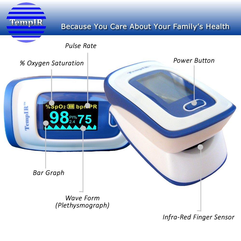 Finger Pulse Oximeter Deluxe Model Digital Blood Oxygen Fast Detector And Sensor Meter With Alarm Spo2 For Adults Children Sports Use Tempir