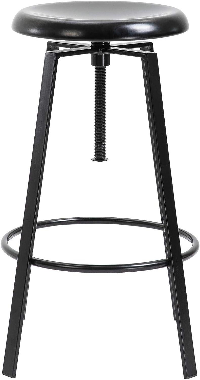 en m/étal laqu/é Noir IDIMEX Lot de 2 tabourets de Bar BATILDA Chaise Haute pour Cuisine ou comptoir avec Assise r/églable en Hauteur Style bistrot Design Retro Industriel