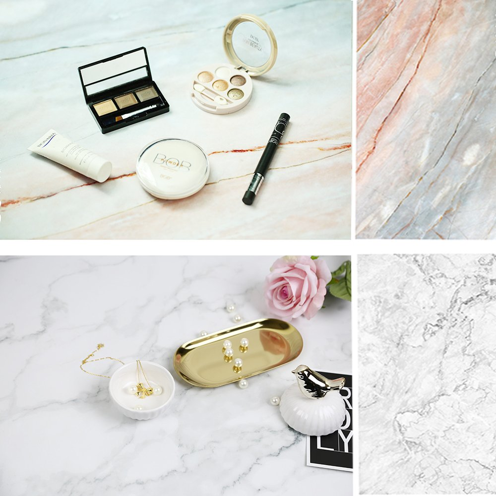 Selens 22x35 Inch (56x88cm) Double Sided of Cracked Marble Texture Background Flat Lay Tabletop Photography Backdrop for Food, Jewelry, Cosmetics, Small Product, Photo Pros and more