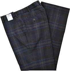 KURI-ORI[クリオリ]WKRB413S0 ダークグレー紺チェック ノータック スリーシーズンスラックスSeifuku pants