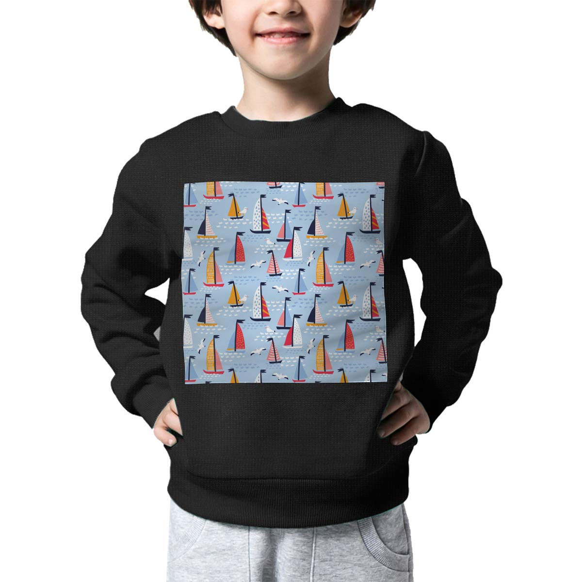 BaPaLa Colorful Sailboat Boys Pullover Sweater Cute Crew Neck Knitted Sweater for 2-6T