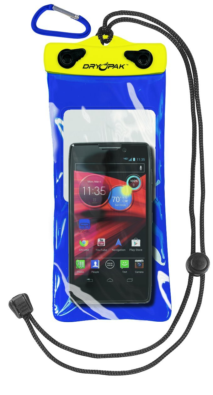 DRY PAK Dry Bag for iPhone, Android, Cameras, Cell Phone Case, 4'' x 8'' Blue & Yellow