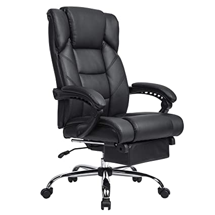 Kadirya Reclining Leather Office Chair High Back Executive Chair With Adjustable Angle Recline Locking System