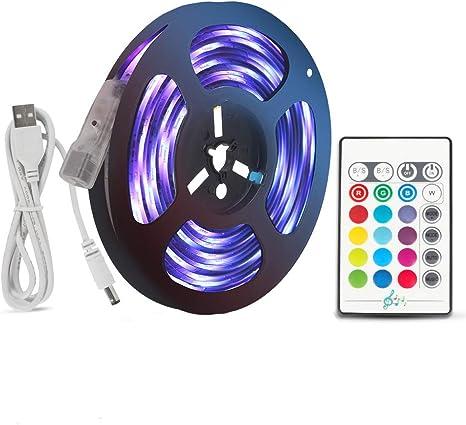 USB LED Strip Lights 16.4ft TV Back Light 5050 RGB Color Changing 24Key Remote