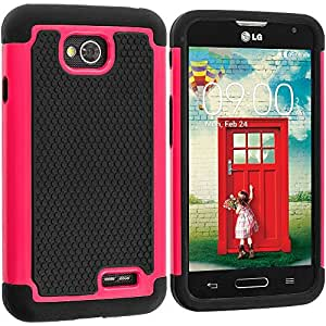 Accessory Planet(TM) Black / Hot Pink Hybrid Rugged Matte Hard/Soft Protective Case Cover for LG Optimus L90