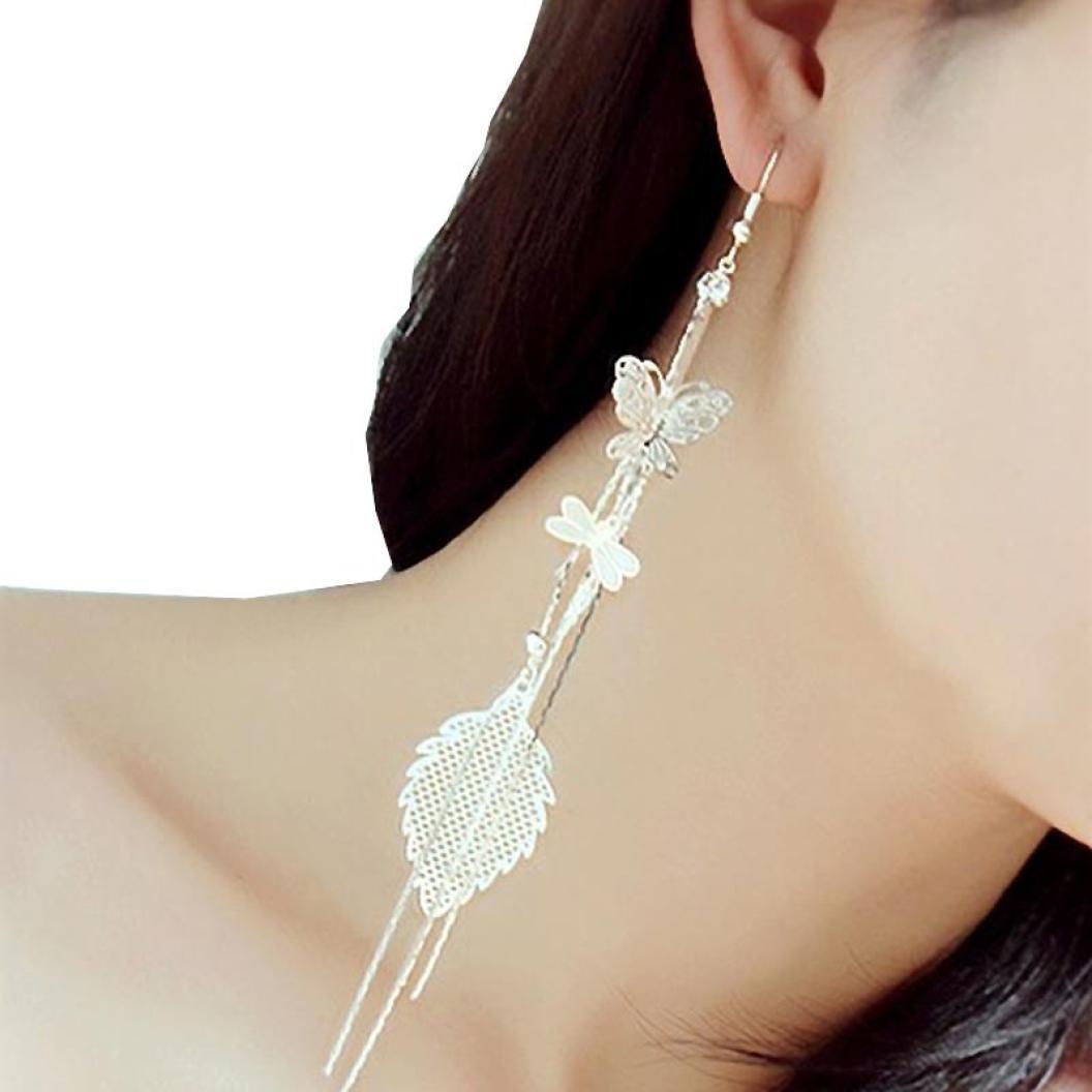 Willtoo Butterfly Dragonfly Leaf Drop Long Chain Dangle Earrings Cute Jewelry (Silver)