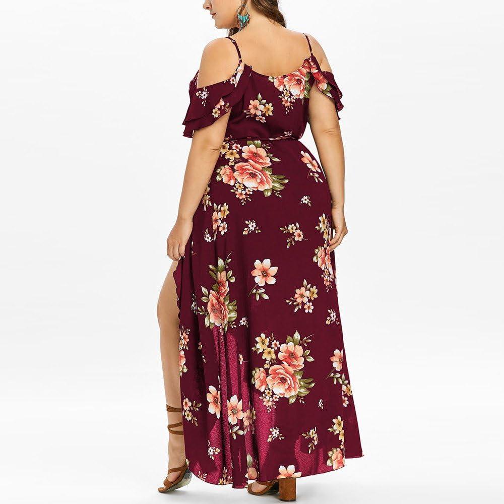 NREALY Falda Womens Plus Size Casual Short Sleeve Cold Shoulder Boho Flower Print Long Dress