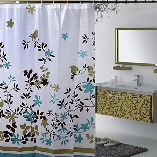 I-Choice Decorative PEVA Mildew Free Water Repellant Shower Curtain 72x72 Comes With 12 Hooks (Birds and Leaves)