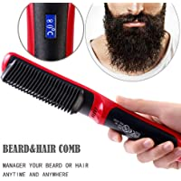 Beard Straightener Comb, Chainplus 2 In 1 Hair Straightening & Hair Curling Irons, Portable Ceramic Fast Beard Smoothing Hair Comb for Men Women, Hair Styling Tool with LCD Display - US Plug