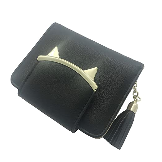 02054fd29372 PETMALL Women's Adorable Small Wallet Cat Ears Coin Purse Money Clip ...