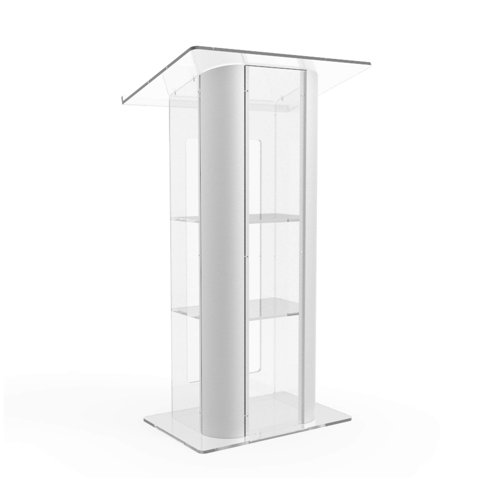 FixtureDisplays Brushed Stainless Steel Sides Pulpit Clear Acrylic Plexiglass Podium Curved Lectern 14307NEW