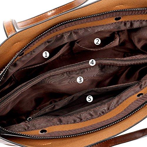 Donna Pelle PU Donna Pelle con a Tote Borse di Nero Bag Honeymall Spalla in Marrone Borsa d5EfqWcd