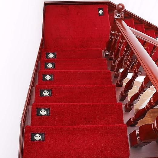 Simple Color Sólido Espesar Alfombra De La Escalera/Estera De La Escalera Antideslizante - Rectángulo/ARC Rugs Escaleras (Color : B-Red, Size : 80X24+3CM): Amazon.es: Hogar