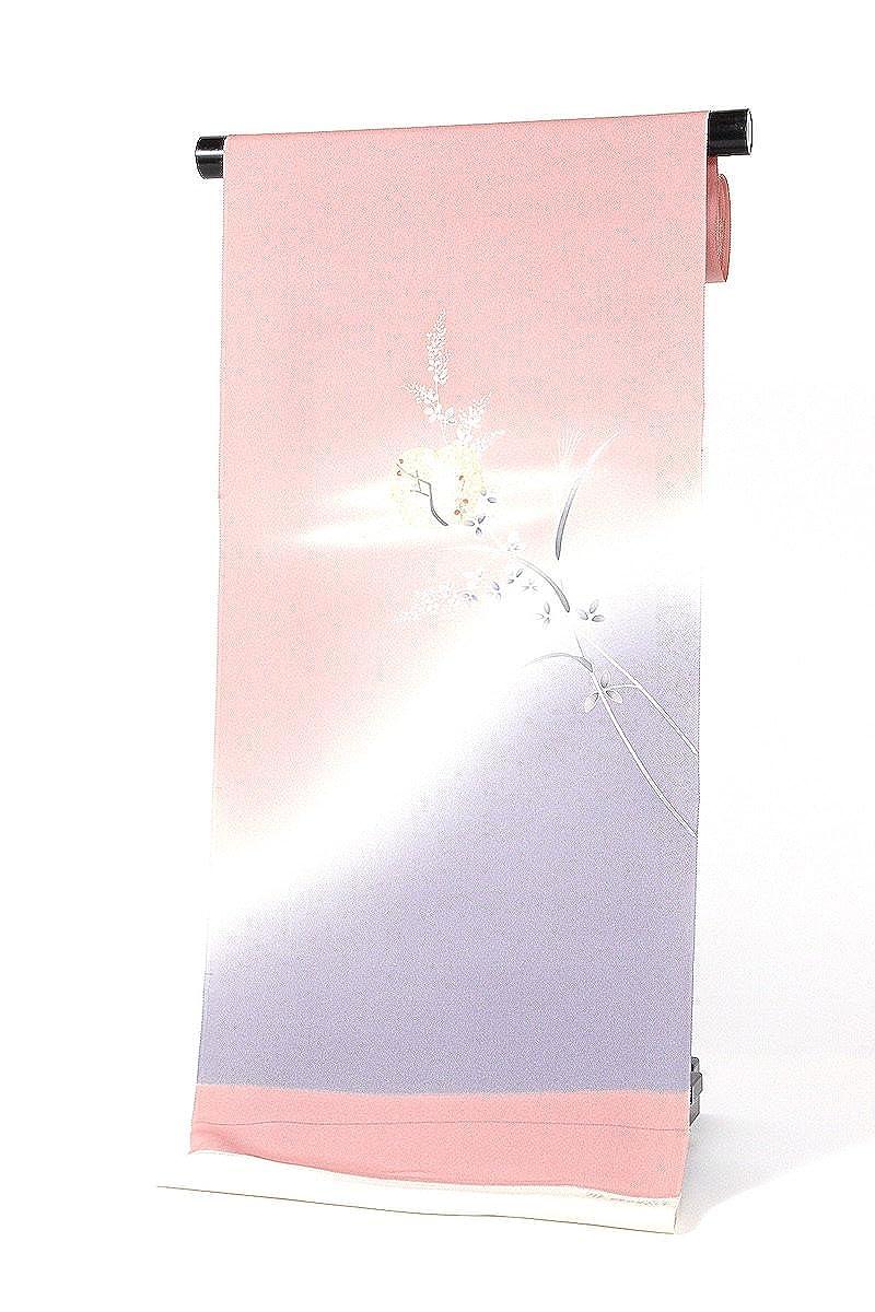 正絹附下げ着尺 ピンク×うす青紫×グレー 付け下げ 日本製 丹後ちりめん   B07BQLDKH7