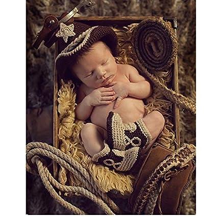 Fashion recién nacido niño niña disfraz de bebé punto fotografía Props  Sombrero de cowboy para hombre e41968633c4