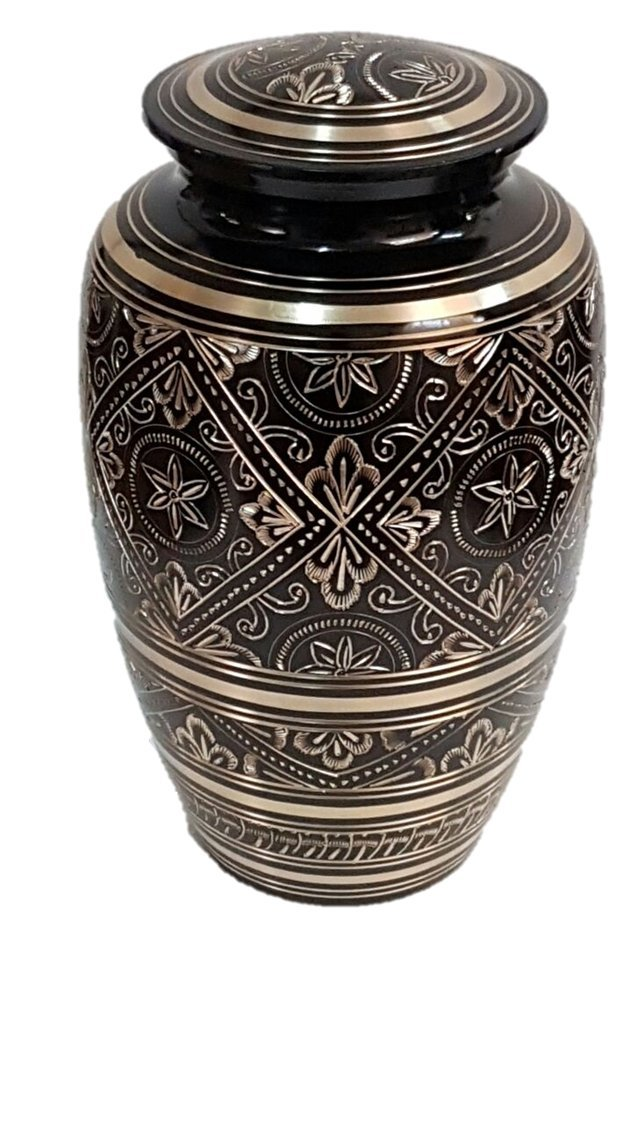 Adult Human Funeral Urn, Black and Gold Brass Cremation Urn