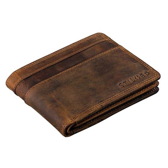 STILORD Cooper Portamonedas de Cuero para Hombre RFID y NFC Bloqueo Monedero Clásico Portamonedas Billetera Portatarjetas de Piel Genuino, Color:marrón ...