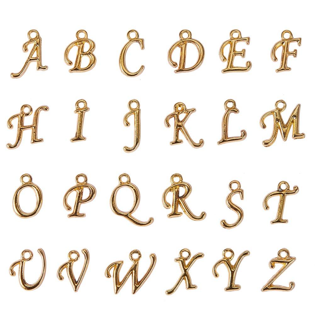 Colgantes de aleaci/ón con Letras del Alfabeto y Abalorios Europeos para bisuter/ía 200 Unidades 12~17 x 4~15 x 2 mm Agujero: 1,5 mm Pandahall