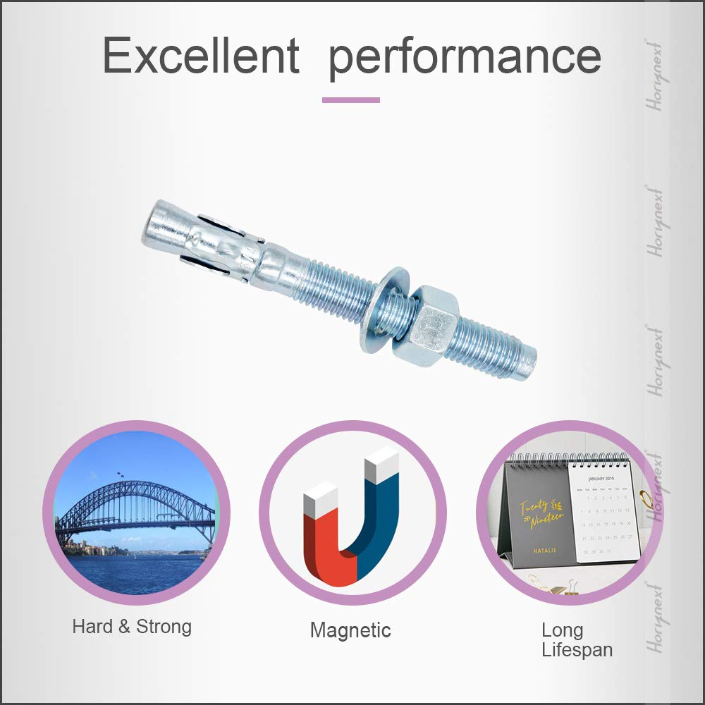 Horiznext 1//2 x 3-3//4 Wedge Anchor, for Cement and Concrete only, Galvanized Carbon Steel Screws and lag Bolts ( 10 pcs