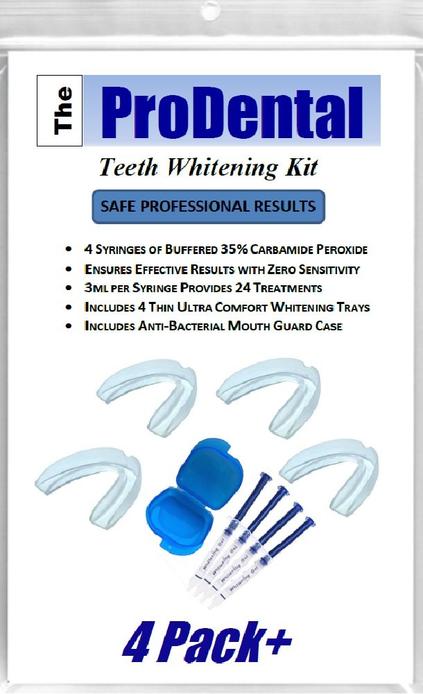 ProDental Professional Teeth Whitening Kit - Made in USA - Faster Results Than Tooth Whitening Strips, Pen, Powders and Toothpaste. Safe for Sensitive Teeth. Includes Gel and Trays for 24 Treatments by ProDental (Image #1)