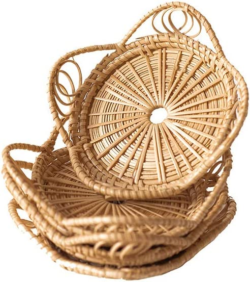 Natural Handmade Woven Boho Bamboo Rattan Coasters for Drinks - Neutral Minimalist Wicker Bohemian Indie Style Coasters for Home Kitchen Living Room Bedroom Coffee Table Decor Accessories - Set of 4