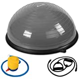 125KG Capacity Bosu Exercise Ball Balance Gym Swiss Ball Yoga Fitball Workout Pilates Stability Physio Ball With Resistance Bands & Foot Pump - Gray