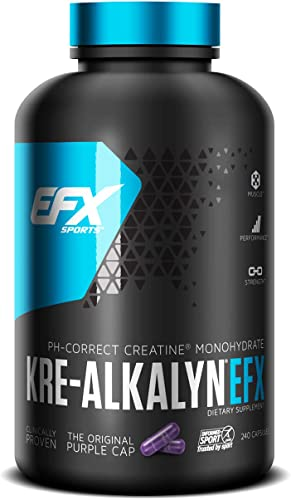 EFX Sports Kre-Alkalyn PH-Correct Creatine Monohydrate Multi-Patented Formula, Gain Strength, Build Muscle Enhance Performance – 240 Capsules 120 Servings