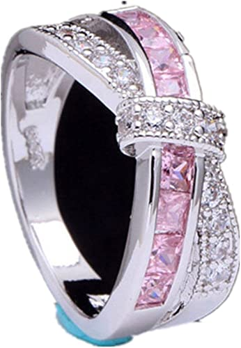 Wedding Jewelry Size 6-10 Cross Rhinestone Pink Silver Plated Finger Ring
