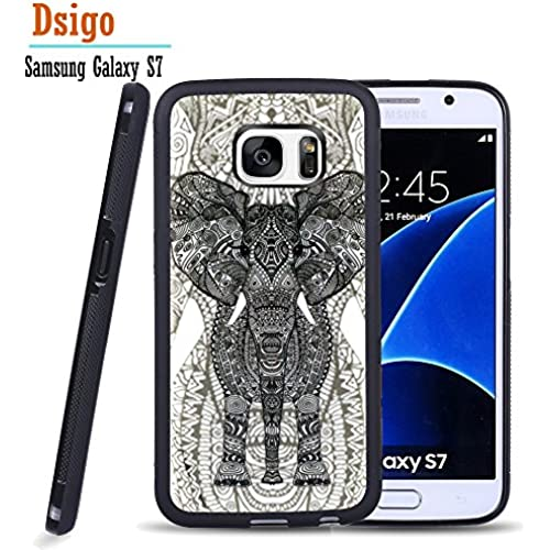 Galaxy S7 Case, Samsung S7 Black Case, Dsigo TPU Black Full Cover Protective Case for New Samsung Galaxy S7 - Retro Vintage Aztec hollow elephant Sales