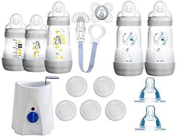 MAM All-In-One Starterset 23tlg Anti-Colic Flaschen Sterilisator Babykostwärmer