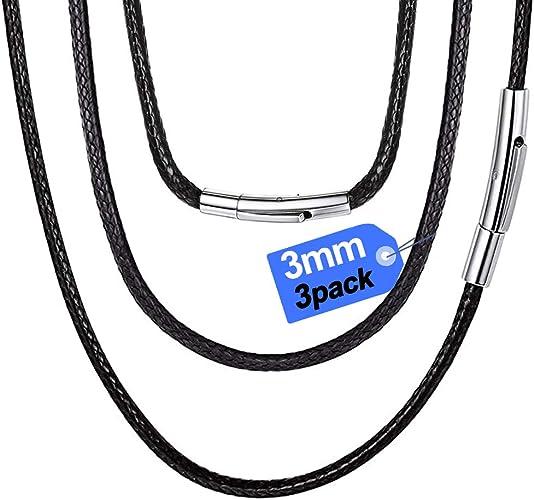 45 Generisch Schwarzes Hals Lederband mit Edelstahl Karabiner 2 mm Breite 45 cm 50 cm 55 cm