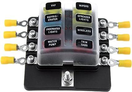 kkmoon 8 way blade fuse box halter sicherung blöcke mit led-anzeige 100  sicherungen 100 anschluss terminals für auto boot marine caravan truck 12 v  24 v: amazon.de: auto  amazon.de
