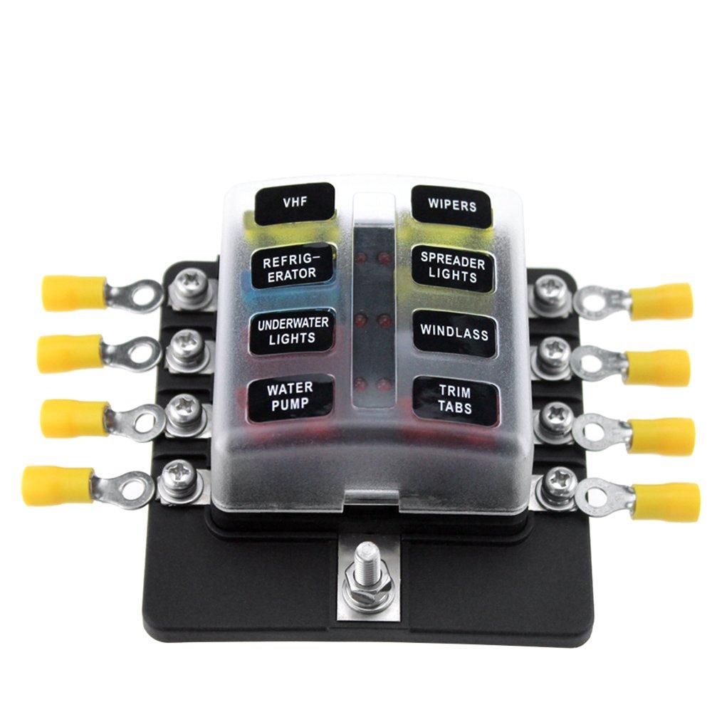 KKmoon Fusibili a scatola a 8 vie con portafusibili Fusibili con indicatore LED 10Pcs Fusibili Terminali con connettore da 10 pezzi per camion per auto Marine Caravan 12v 24V