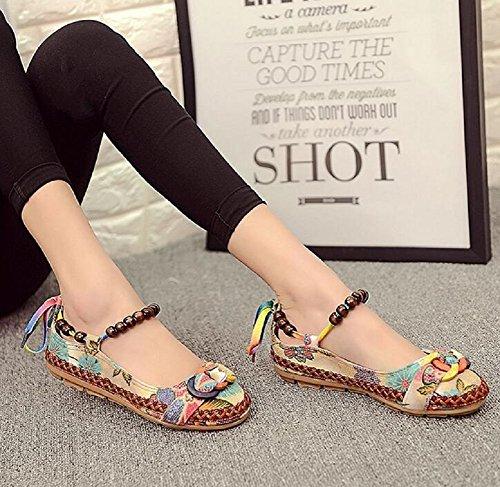 Lazutom Women's Round Toe Embroidered Casual Mary Jane Flower Flats Shoes kKHYvU