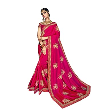 a192075fa6e229 Amazon.com: EthnicWear Beautiful New Dual Tone Silk Red Pink Party Festival  Wear Indian Pakistani Sequins Embroidery Work Sari Saree: Clothing