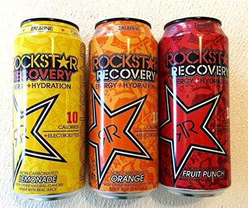 Rockstar Recovery Energy + Hydration - Variety Pack - Lemonade, Orange, Fruit Punch - 16fl.oz (Pack of 12) (Rockstar Fruit Punch Energy Drink)