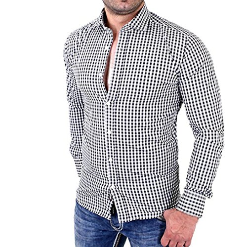 Clearance Men's Plaid Shirts Male Long Sleeve Slim Fit Business Casual Shirt (XL, Black) from Charberry