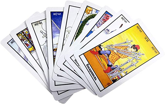 Quiet.T 78 Cartas De Tarot Rusas, Juego De Mesa con Caja De Colores Adivinación Destino Juego De Cartas De Tarot: Amazon.es: Hogar