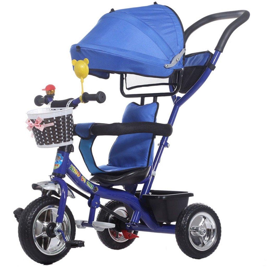 BZEI-BIKE Multifuncional 4-en-1 Plegable Triciclo Niño Kid Trolley Empuje Stoller Bicicleta con toldo Anti-UV   para 1-3-6 Años de Edad, Niño y Niña bebé de Juguete   con Freno   Azul