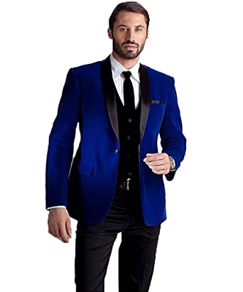 d1420d827392 Mens Velvet Jacket Groom Suit Shawl Lapel Formal Prom Business Tuxedo (Jacket+Pants)