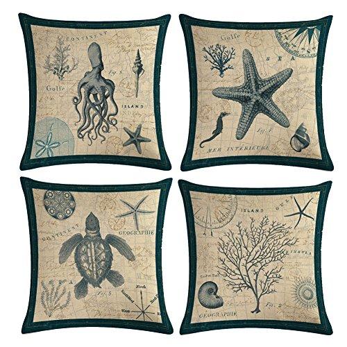 YANGYULU Mediterranean Style Vintage Marine Life Cotton Linen Home Decorative Throw Pillow Case Cushion Cover 18