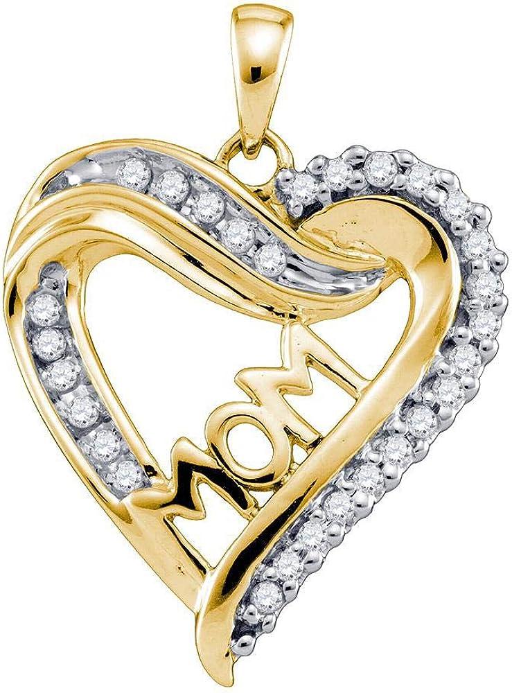 10k Yellow Gold Diamond Mom Mother Heart Pendant 1//5 ct