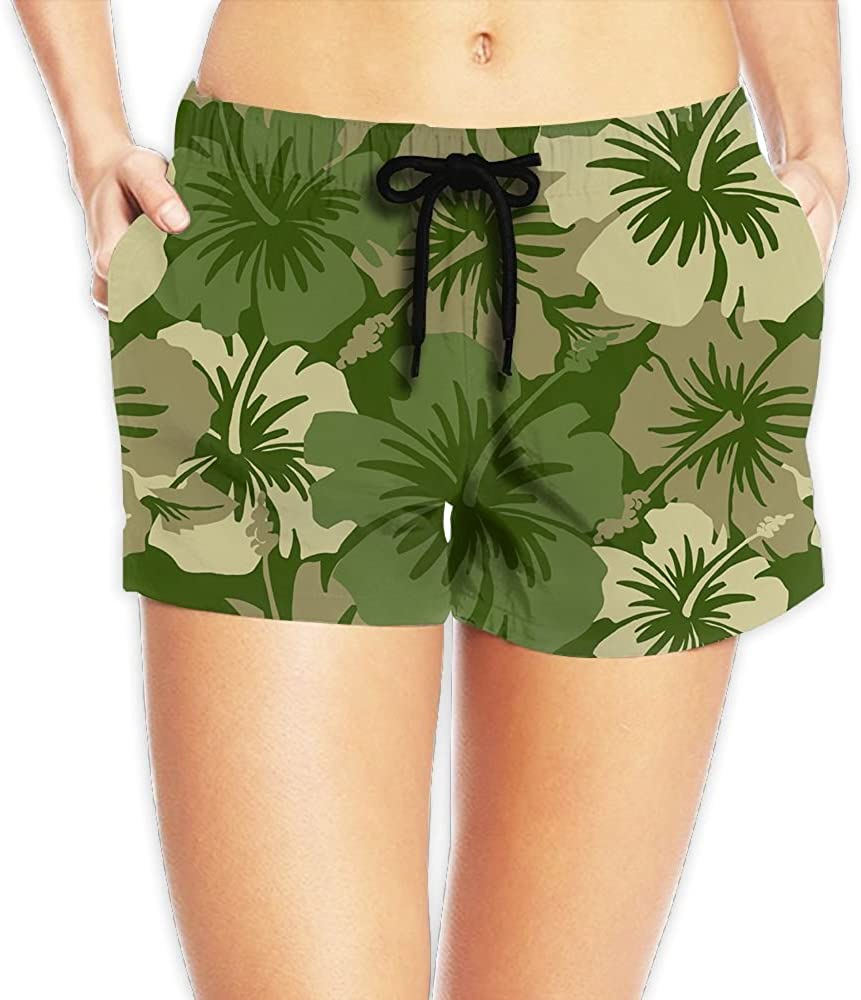 LWI DIW Hawaiian Flora Olive Green Womens Quick Dry Fashion Shorts Swim Trunks Beach Board Shorts