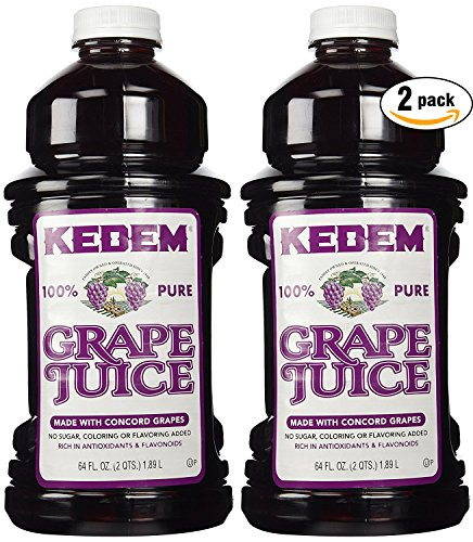 Kedem 100% Pure Kosher Grape Juice for Passover & All Year Round, Plastic Bottle, Healthy & Delicious, Refreshing Taste, Half gallon, 64 oz (Pack of 2, Total of 128 Oz) (2-Pack) (Kosher Grapes)